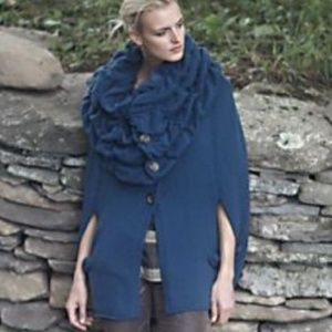 Anthropologie Icy Current Cowlneck Poncho Sweater